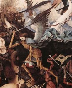 Pieter Bruegel the Elder painting of the the Archangel Michael fighting the rebel angels