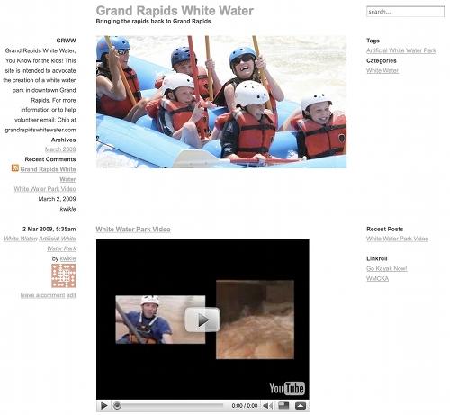 Grand Rapids White Water dot com image of web site
