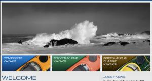 Valley Sea Kayak Web site relaunch screen capture