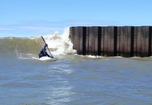 Kayak Surfing Lake Michigan