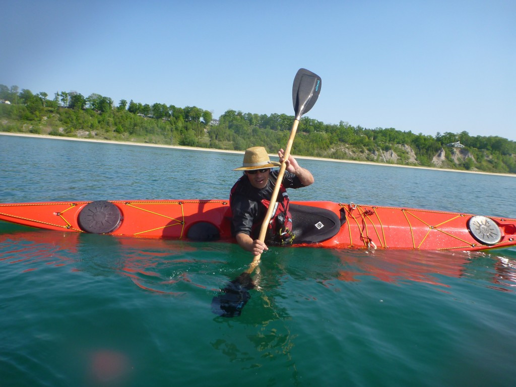 Alec using a bent shaft paddle
